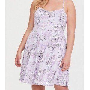 Torrid Floral Print Cross Back Jersey Skater Dress